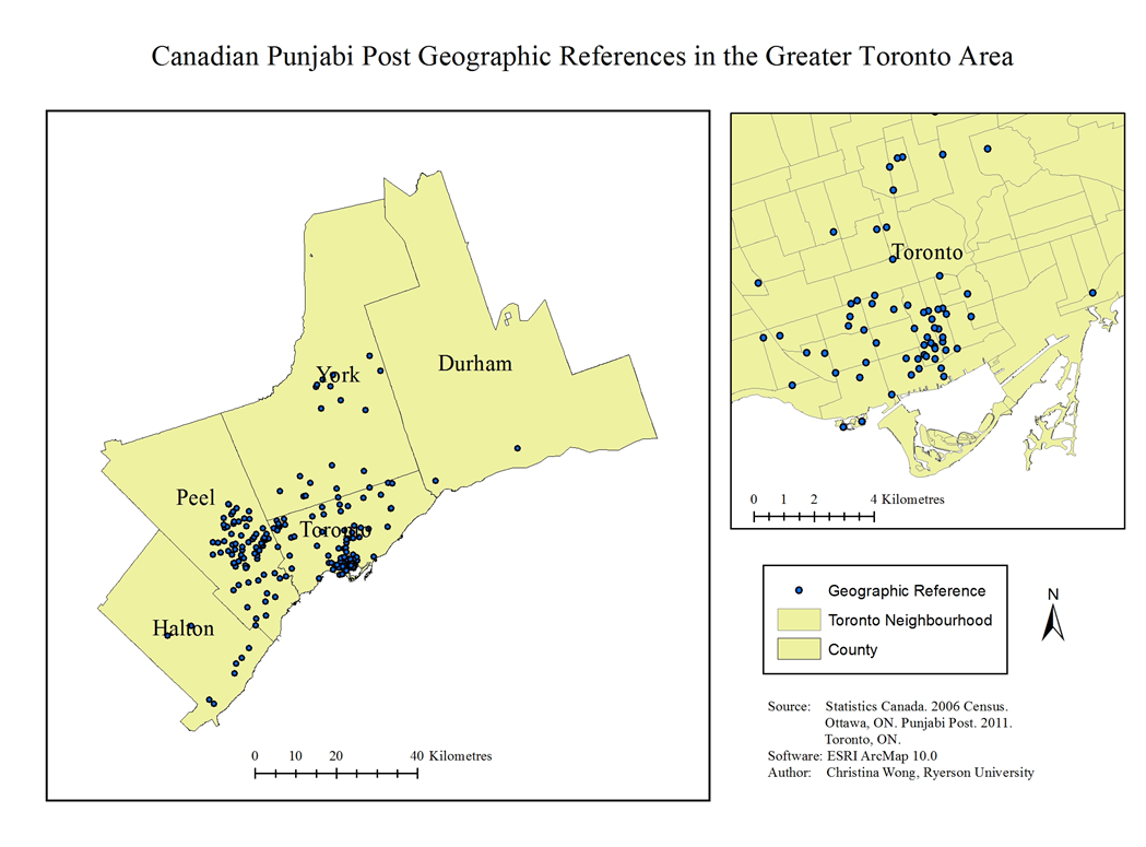 Canadian Punjabi Post Geographic Reference in the Greater Toronto Area