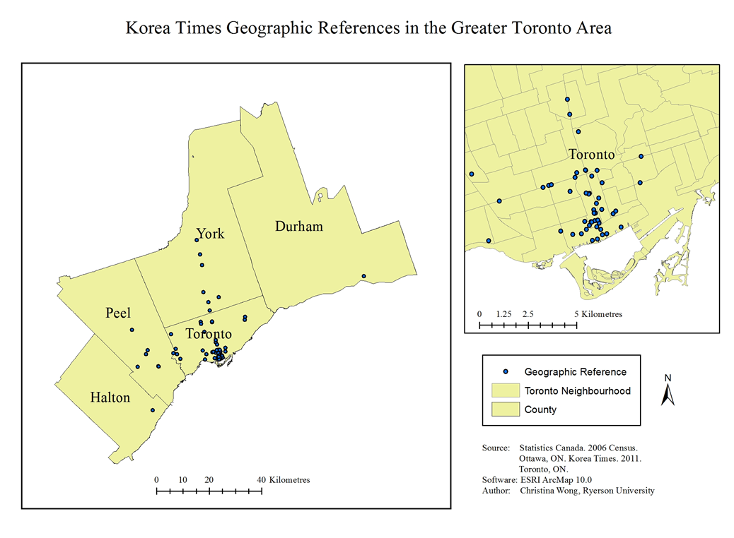 Korea Times Geographic References in the Greater Toronto Area