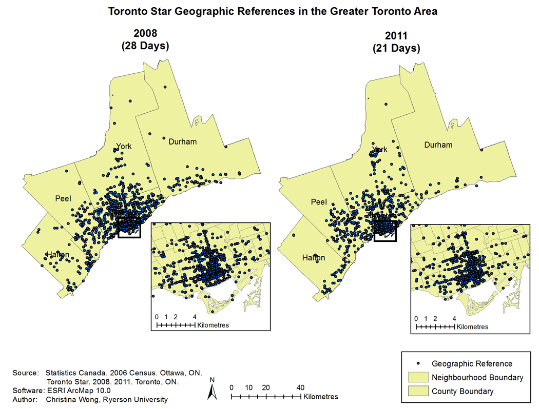Toronto Star Geographic References in the Greater Toronto Area