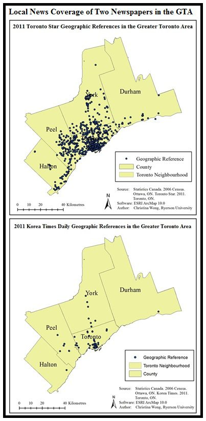 Figure 2. Geography of news comparison of two GTA newspapers