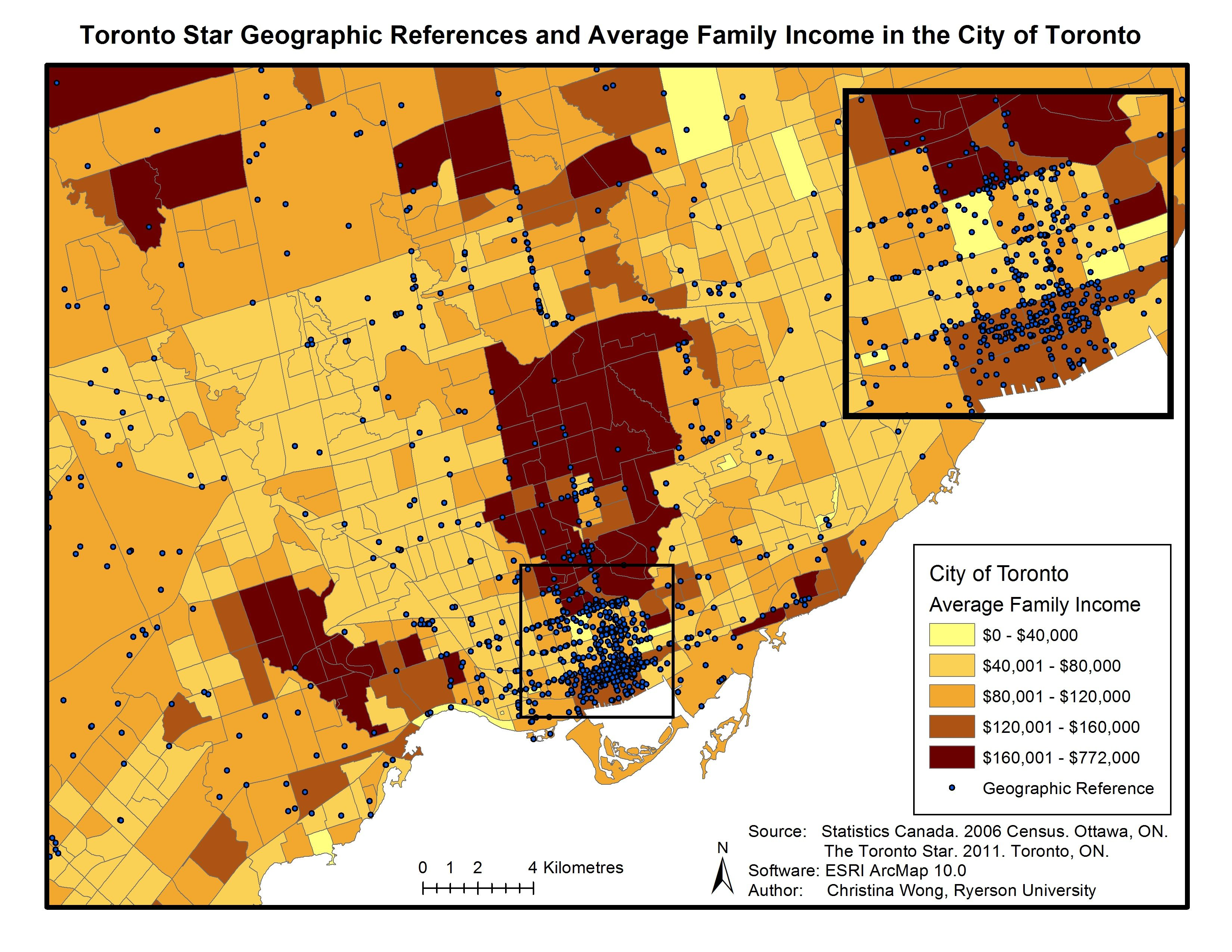 Figure 4. Toronto Star coverage and average family income