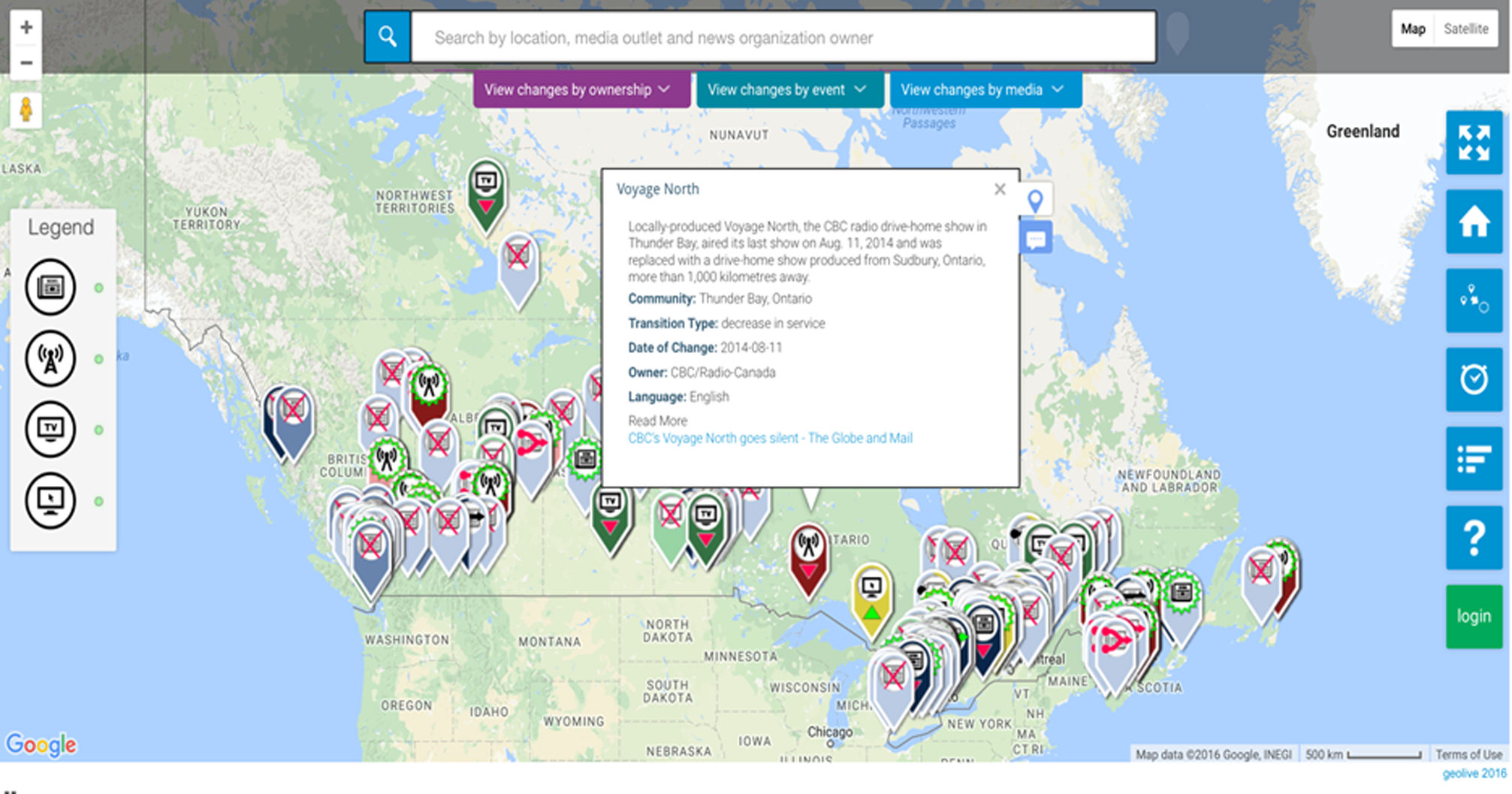 Figure 1. The Local News Map https://localnewsmap.geolive.ca/